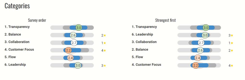 Agendashift Delivery Assessment - przykładowe wyniki ankiety